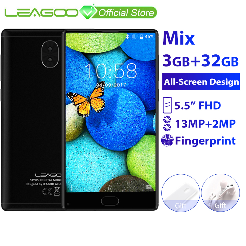 "LEAGOO KIICAA Mix 3GB 32GB Mobile Phone Android 7.0 5.5"" Full Screen MTK6750T Octa Core 13MP Camera Fingerprint 4G Smartphone(China)"