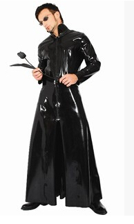 new walson instyles Black/red  faux leather pvc long gothic coat fancy dress for men and women  plus size S-6XL