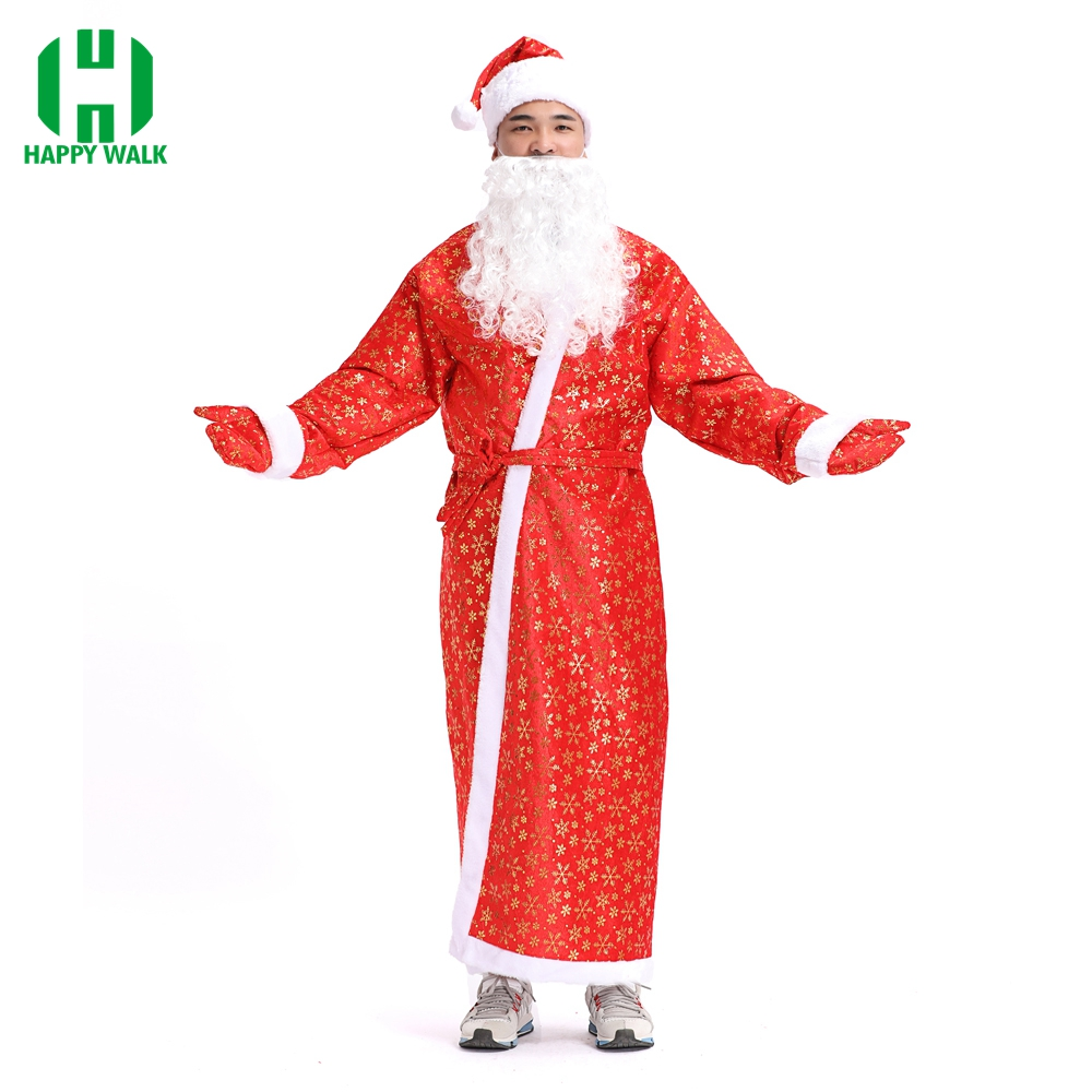 Santa Claus Costume For Adult Russian Christmas Fancy Costume Xmas Suit Cosplay Costume Robe+Beard+Gloves+Hat Christmas Set