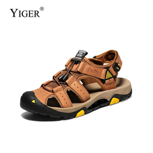 YIGER New men beach sandals hollow slippers summer big size man outdoor genuine leather male casual  297
