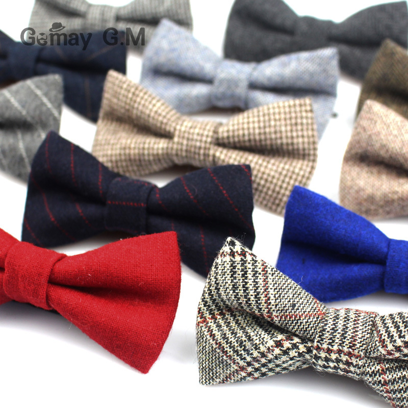 New Wool Bowties For Wedding Business Butterfly Solid Color Bow Tie For Men Woolen Cravat Unisex England Style Striped Bow Ties