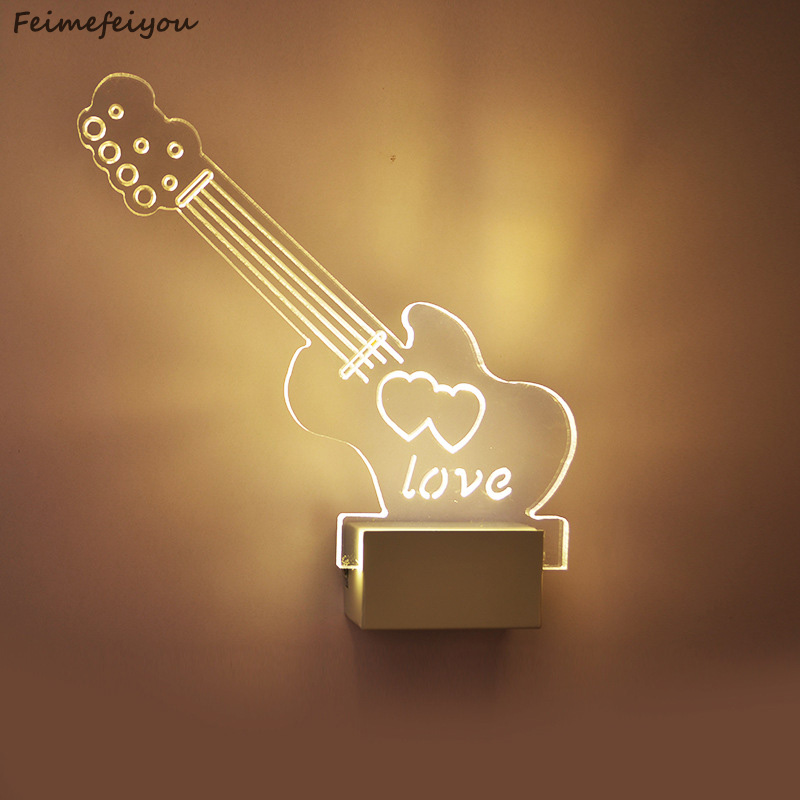 Feimefeiyou Guitar shape LED wall Light bedside lamp modern living room corridor hallway stairs Pathway Wall Sconce Lighting new electric guitar pickup in black and white made in south korea la 8324