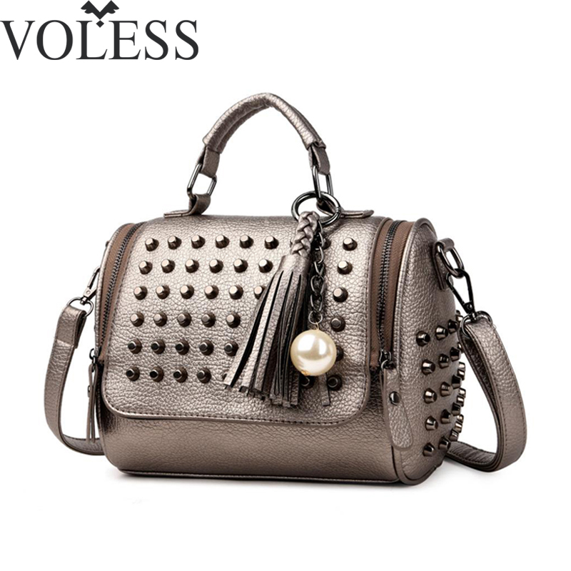 Luxury Handbags Women Bags Designer Handbags High Quality PU Leather Bag Famous Brand Retro Shoulder Bag Rivet Sac a main luxury handbags women bags designer pink shoulder messenger bag high quality pu leather crossbody bags for women 2017 sac mb02