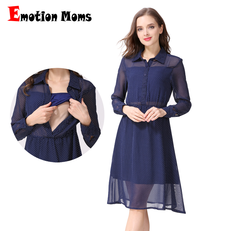 цены Emotion Moms Long Sleeve Nursing Dress Breastfeeding Dresses for Pregnant Women Maternity Dress Clothing Summer spring