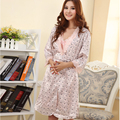 2016 Sexy Women Pajama Set Faux Long Silk Robes Sleepwear Nightgown  For Women V2