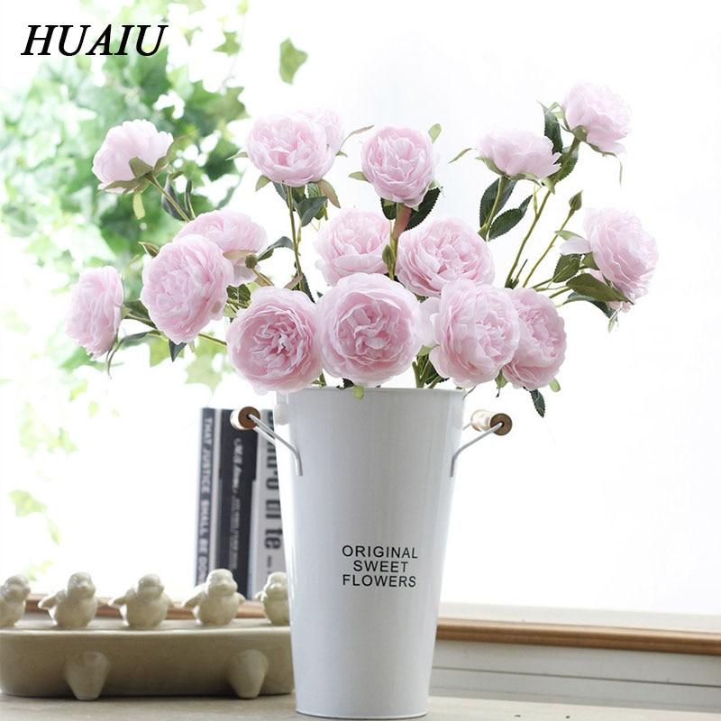 HUAIU Artificial Flower 3 Head Drug Peony Flowers Fake Rose DIY Home Wedding Decoration Simulation Plant