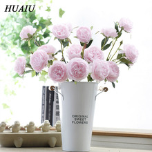 HUAIU Artificial Flower 3 Head Drug Peony Flowers Fake Rose DIY Home Wedding Decoration Simulation Plant
