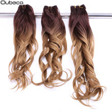 "Oubeca 16""18""20"" Synthetic Natural Wave Hair Weave Bundles Two Tone Ombre Weaving Double Weft Sew In Hair Extensions For Women(China)"