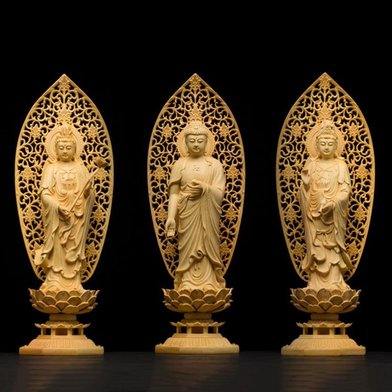 Wood Bouddha figurines guanyin spirit statue Buddha Goddess Home decor Gift craft buda estatua s for