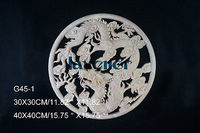 G45 1 40x40cm Wood Carved Round Onlay Applique Unpainted Frame Door Decal Working Carpenter Chinese Dragon
