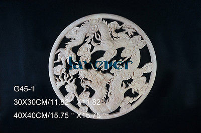 G45-1 -40x40cm Wood Carved Round Onlay Applique Unpainted Frame Door Decal Working Carpenter Chinese Dragon Style