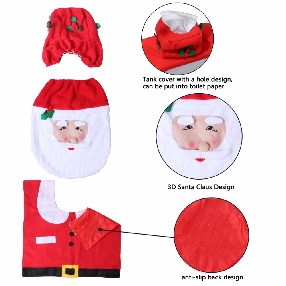 Set Of 3 Santa Claus Toilet Covers Christmas Decorations Set With Toilet Seat Cover Tank Cover And Rug Bathroom Decorations (7)