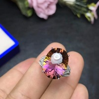 Natural ametrine ring, beautiful in two colors, 925 silver ladies ring.