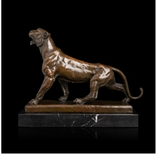 100% Real Bronze Modern Brass Panther Sculptures  Leopard Bronze Statue With Marble Base For Home Decoration