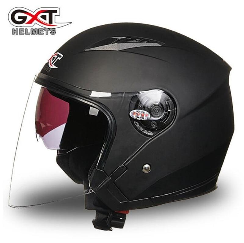 GXT Motorcycle Helmet Motorcycle Scooter Helmet Moto Open Face Summer Half Face Motorcycle Helmet Dual Lens
