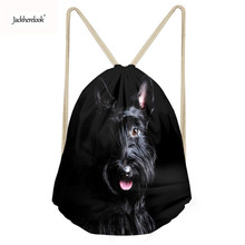 Jackherelook Brand Design 3D Scottish Terrier Print Drawstring Bags for Men Women Gym Sack Bag Small String Backpack School Bags