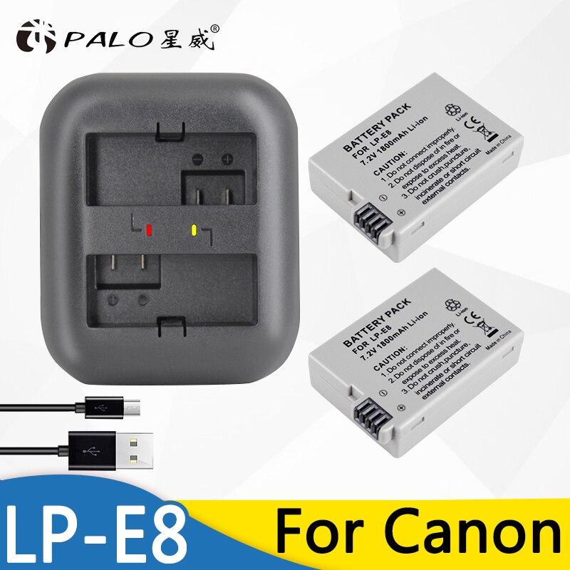 PALO 2 piezas LP-E8 LPE8 LP E8 batería AKKU + indicador cargador para Canon EOS 550D 600D 650D 700D x4 X5 X6i X7i T2i T3i