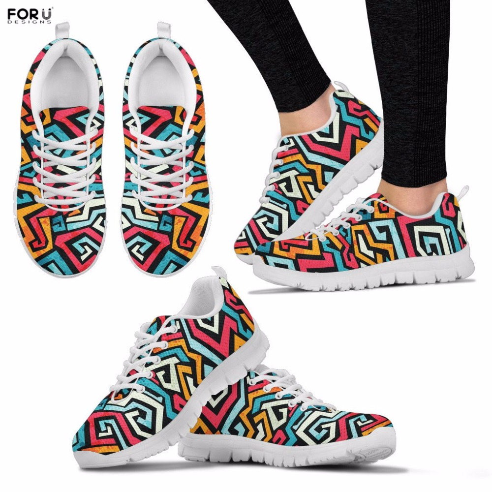 FORUDESIGNS Women Shoes Graffiti Printing Sneakers Ladies Spring Breathable Shoes Teenager Girls Casual Lace-up Flat Shoes 2018 gogc 2018 new style women shoes with hole breathable women flat shoes women sneakers casual shoes summer spring lace up footwear