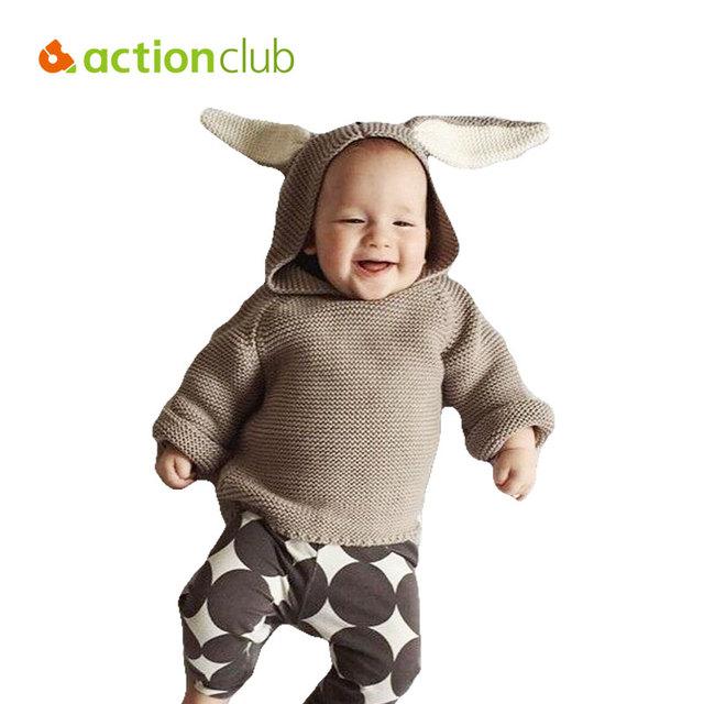 Actionclub Niñas Suéter Niñas Niño Ropa Niños Otoño Ropa de Punto Caliente Del Oído de Conejo Con Capucha Suéter de Los Cabritos Caliente