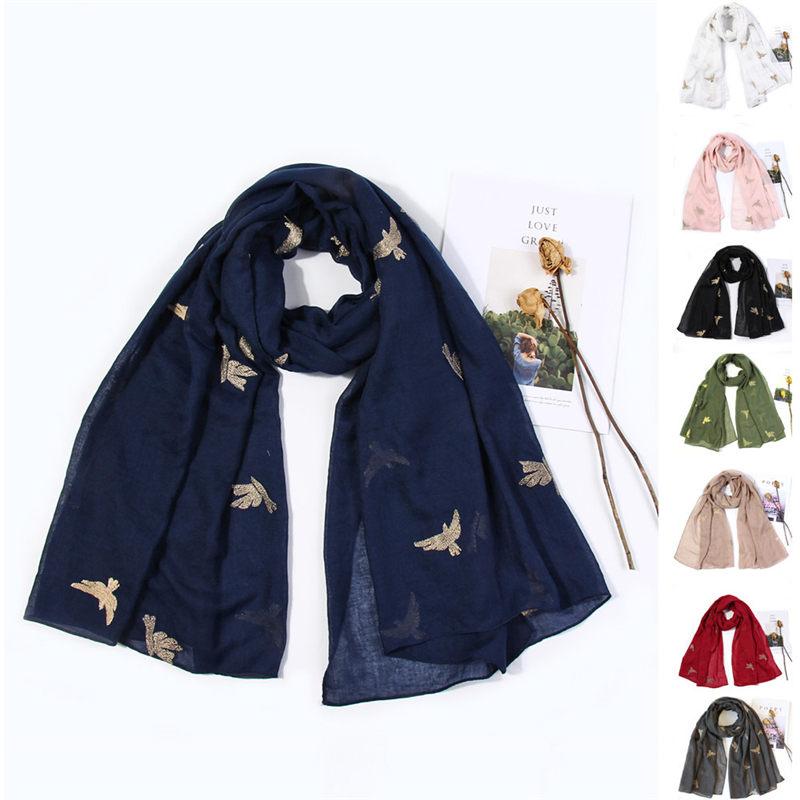 Women Bird Embroidery   Scarf     Wrap   Shawls Headband Soft Shawl Long women's   scarves   handkerchief hijab   scarf   40MA06