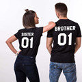 Free Shipping Summer Brother Sister Printed Tumblr 2017 Women/Men T-shirt Female Sexy Tops Shirts Large Size 3XL XXXL