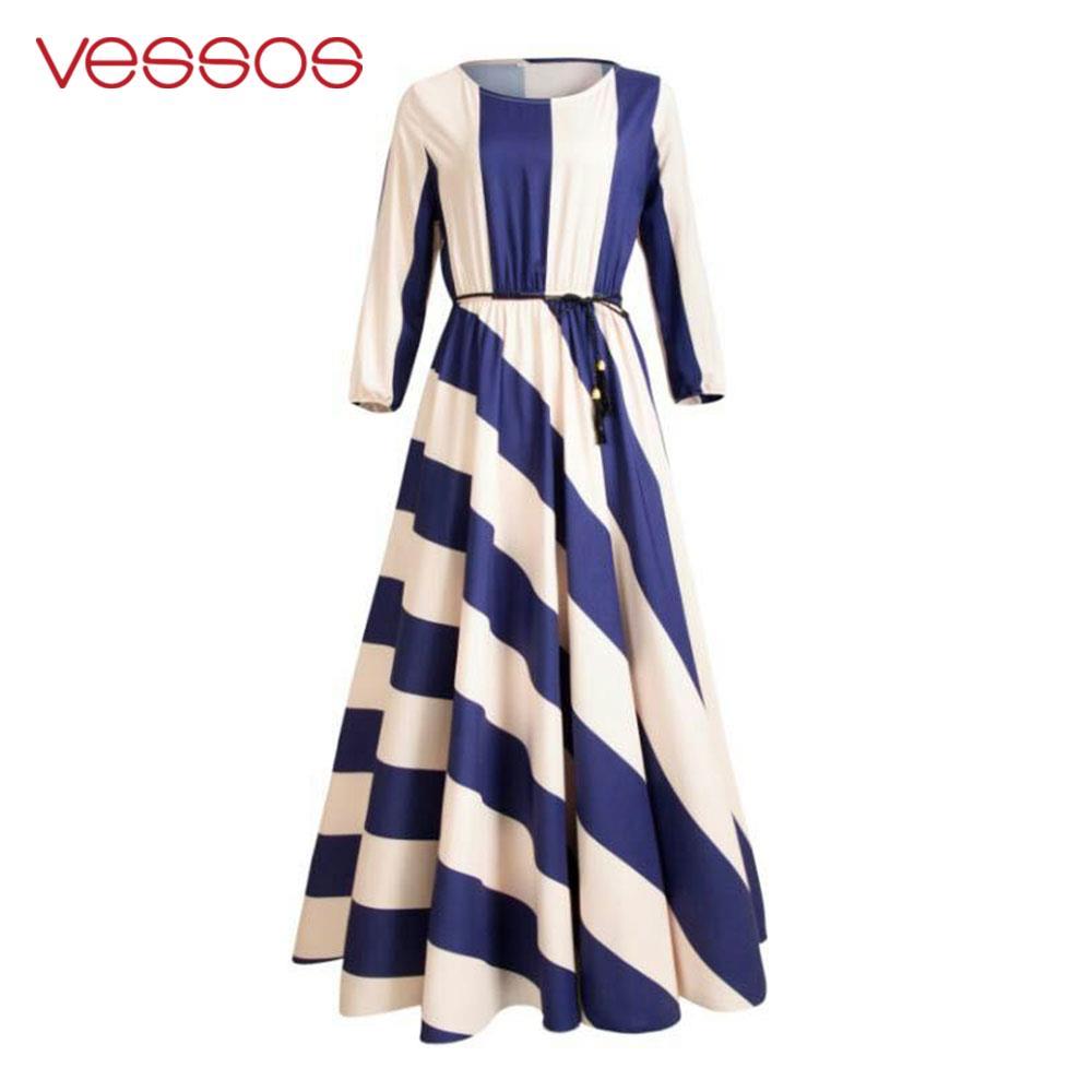 Vessos Wedding Holiday Beach Dress Boho Maxi Smooth Fashion Women Long Dress Striped Round Neck Nylon