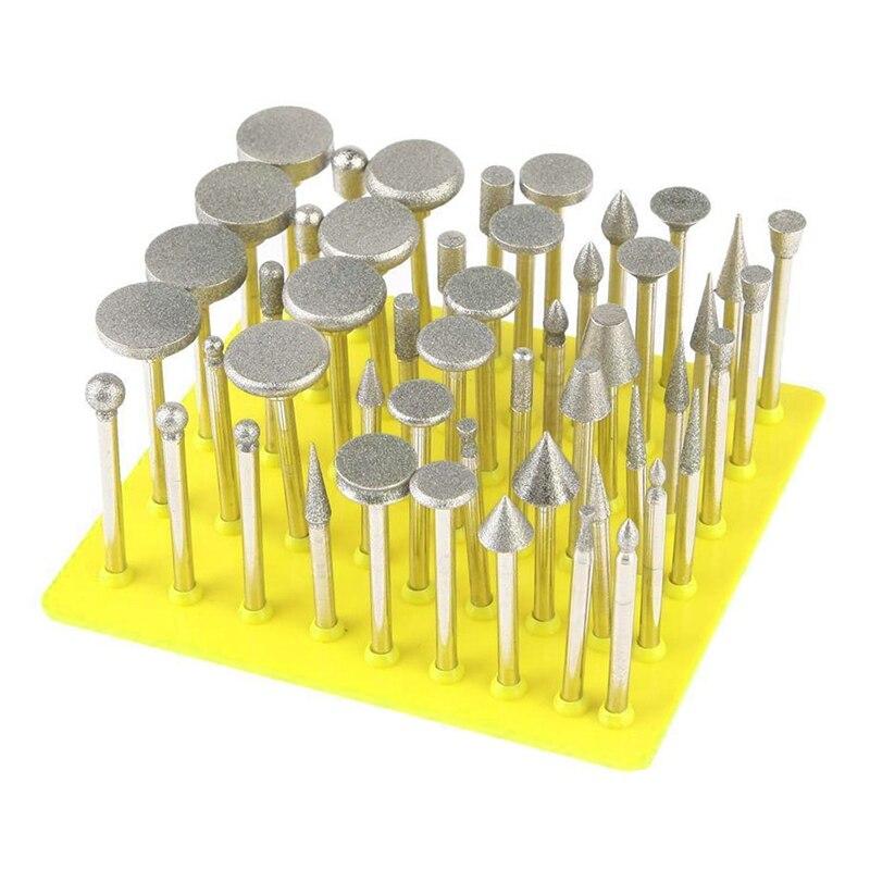 50Pcs Diamond Coated Grinding Grinder Head Glass Burr For DREMEL Rotary Tools