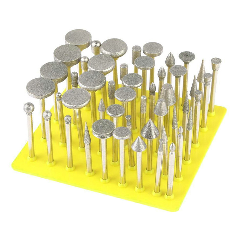 50Pcs Diamond Coated Grinding Grinder  Glass Burr For DREMEL Rotary Tools
