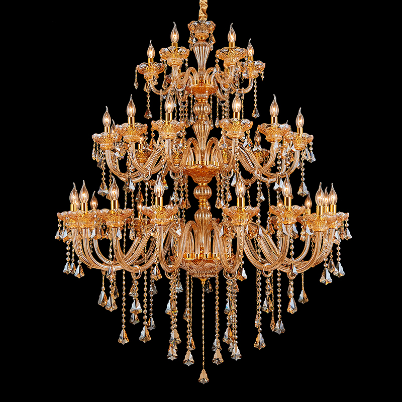 Duplex house Amber Gold Chandelier Crystal droplight Church Hotel large pendant chandelier lighting E14 Led candle lustres lampe