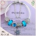 Muito Bonita Série Do Floco De Neve de Ouro Encantos De Prata Europeus 925 Sterling Silver Charm Bracelet