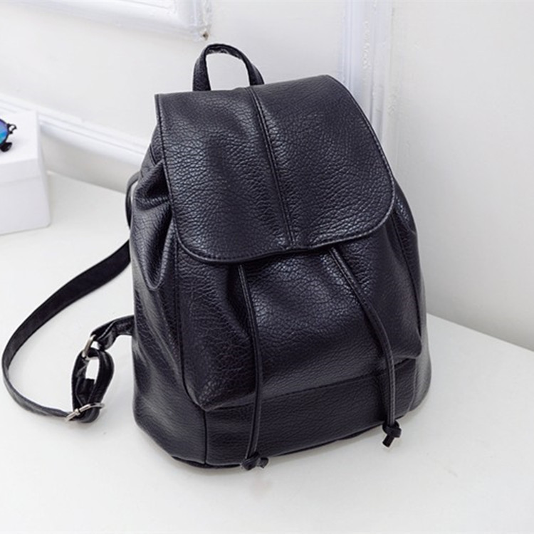 Detail Feedback Questions about Fashion Korean New Black Backpack bag  College Wind Schoolbag Pu leather Woman Drawstring Backpacks Bag travel bag  on ... d71bf179f0fd0