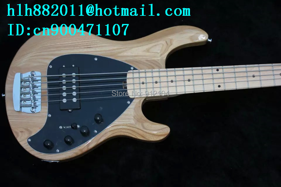 new 5 strings electric bass guitar  in natural with elm body and passive pickup made in China+ free shipping+foam box F-1983-1 free shipping new electric guitar and bass 2 a250k 2 b250k big tone and volume electronic dr 8159
