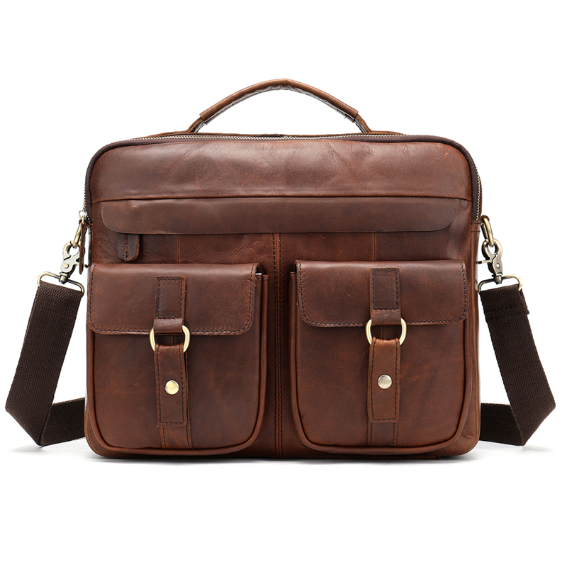 2019 Messenger Bag Men's Genuine Leather 14'' Laptop Bag Business Portable Top-Handle Bags Male Crossbody Shoulder Bags