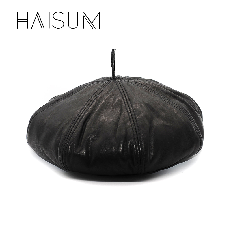 2018 Limited New Adult Solid Haisum Genuine Leather Woman's Newsboy Cap Octagonal Hat Cbd High Quality Pumpkin Caps Hats Cs16