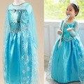 2015 elsa muchachas del vestido traje del vestido de Cosplay snow queen princesa anna Dress niños vestidos fiesta fantasia infantis vestido Menina