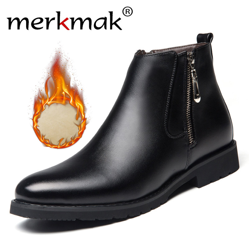 Mermak Fashion Men's Chelsea Boots Male Ankle Shoes Luxurious Brand Leather Men Boots Dress Shoes Party Wedding Casual Flats