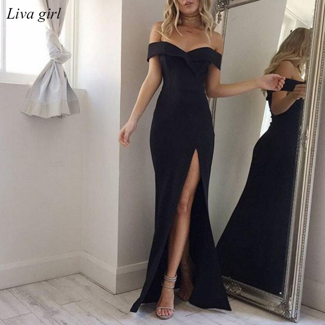 2018 Summer Dress Elegant Bohemian Women Evening Sexy Maxi Formal Party  Dresses Strapless Solid Spring Girl Dresses Vestidos bb937c1f4