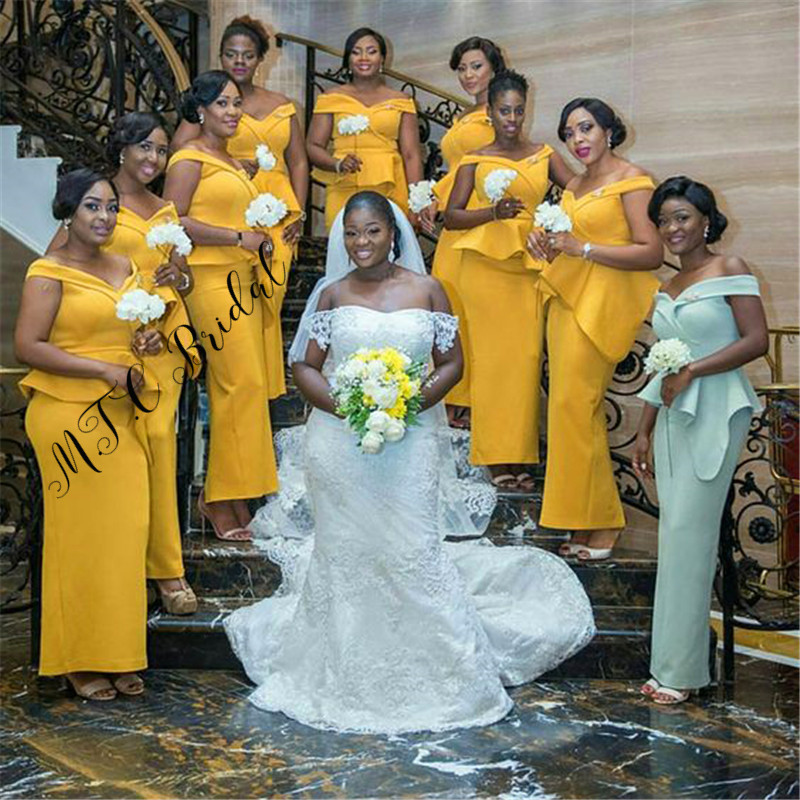 2019 Hot Selling Gold African Bridesmaid Dresses Wholesale Off The Shoulder Sheath Elastic Satin Long Maid Of Honor Dress Cheap