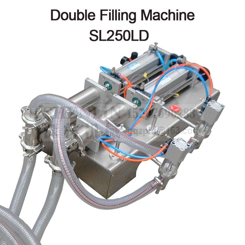 Pneumatic double nozzle liquids piston filler,soft beverage filling machine,food juice water bottling,packing equipment 1000ml, small bottle filling machine