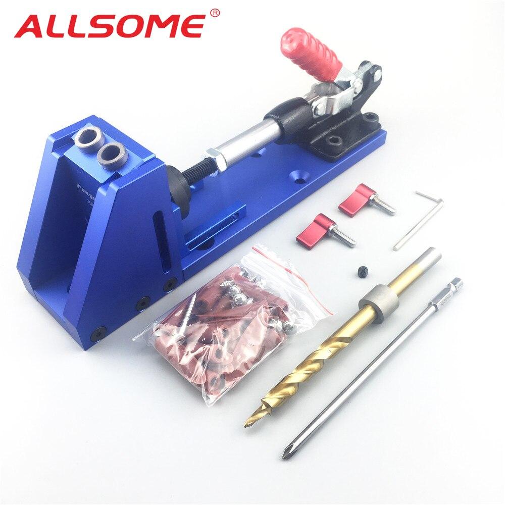ALLSOME Tragbare Tasche Loch Jig Kit System Mit PH1 Schraubendreher 9,5mm Bohrer Bit Set Für Carpenter Holzbearbeitung Hardware Werkzeuge