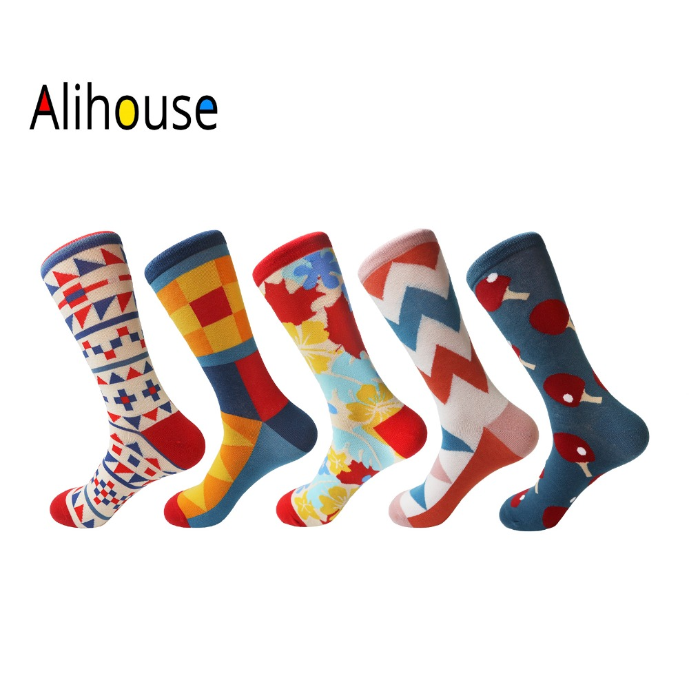 Alihouse Men Socks Happy Socks 5 Pairs/lot Funny Colorful Funky British Style Combed Cotton Casual Dress Wedding Crew Socks Men