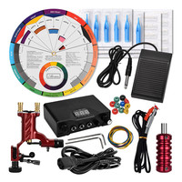 Kit Maquina De Tatuagem Machine Black Power Supply Color Wheel Tattoo Tatuar Rotary Para Rotativa Pen Set Rotatory Permanent