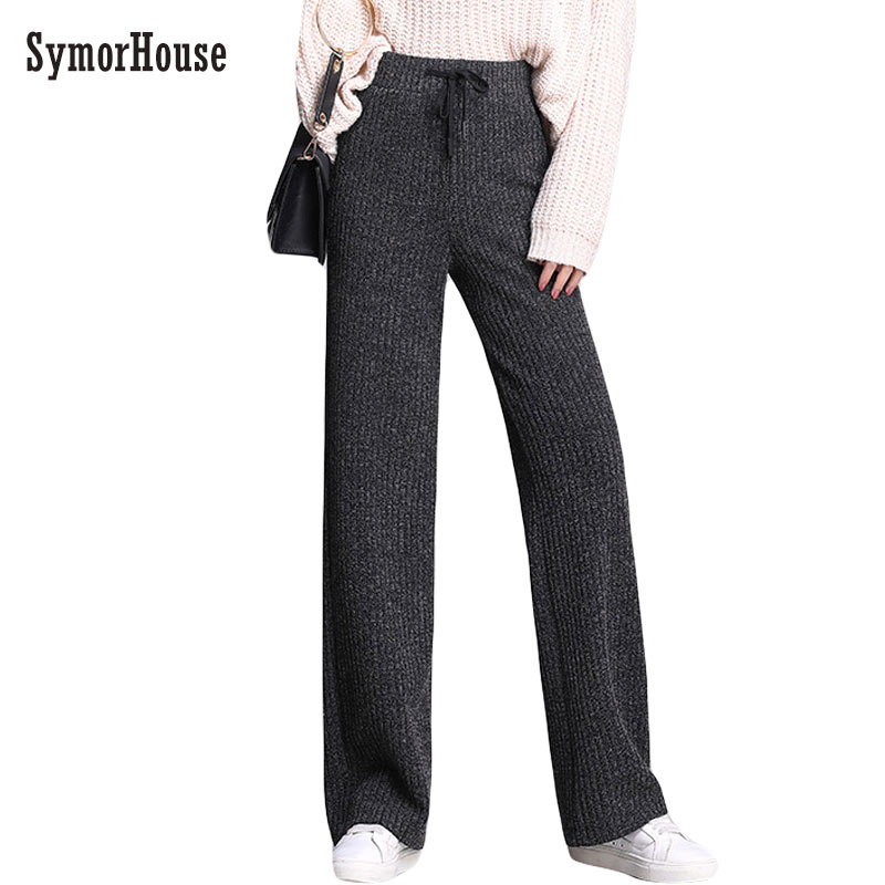 Women   Pants   2018 New Autumn Winter Jersey Knitted   Wide     Leg     Pants   Women High Waist Trousers pantalon femme Casual thick   Pants