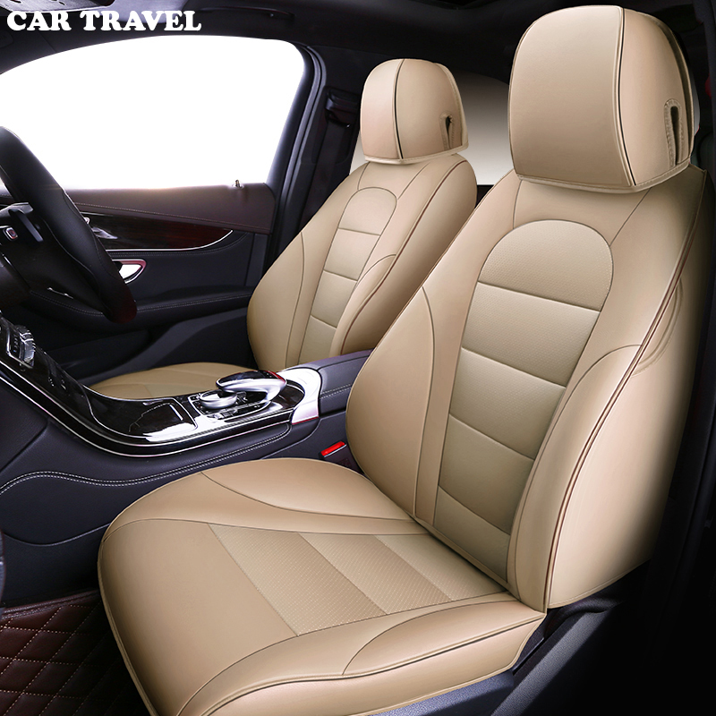 Cubiertas de asiento de coche Skoda Octavia Ajuste Set Completo-Eco Cuero Beige De Cuero