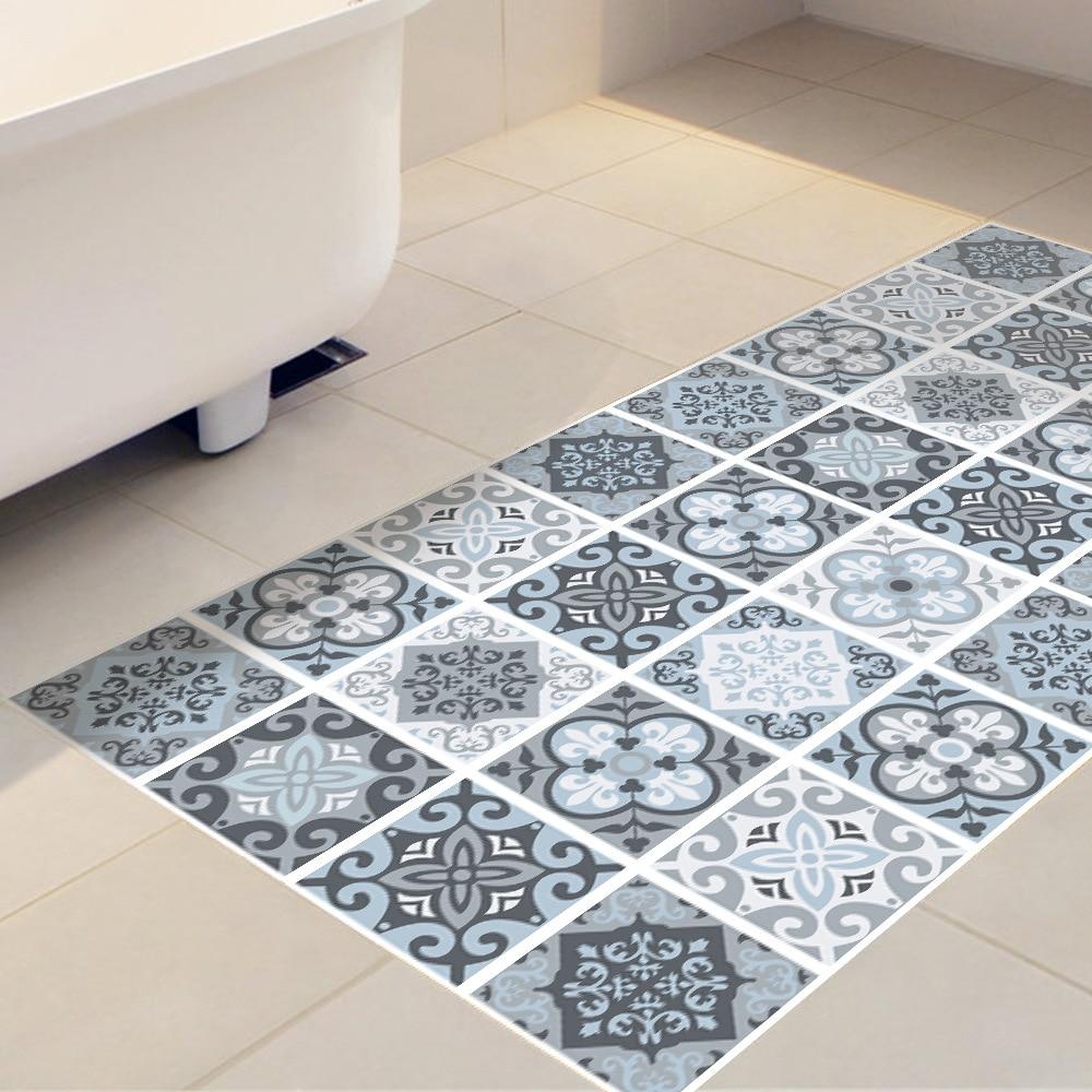 keuken tegels stickers : Blauw Grijs Tegels Anti Skid Slijtvaste Waterdichte Vloer Plakken