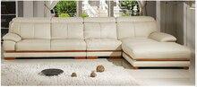 Sofá moderno mobiliario establecer cuero genuino de la sección muebles para el hogar sala de estar sofá set