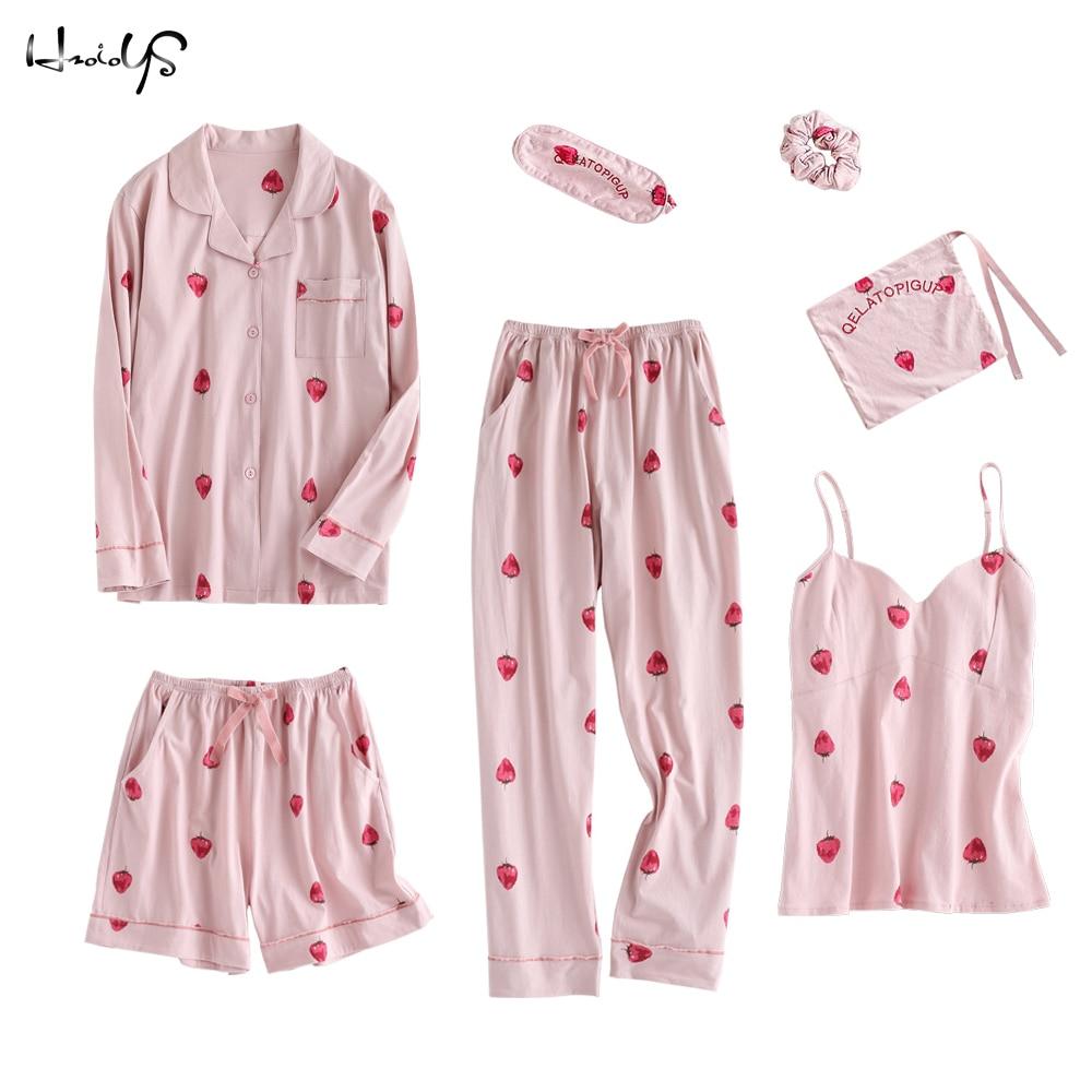 2018 Spring and Summer Cotton Sweet Strawberry Print Pajamas Women Sexy Lingerie Sets Sleepwear Nightwear 7