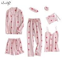 2018 a Primavera Eo Verão de Algodão Doce de Morango Impressão Pijamas Mulheres Sexy Conjuntos de Lingerie Sleepwear Nightwear 7 Peças de Roupas Em Casa