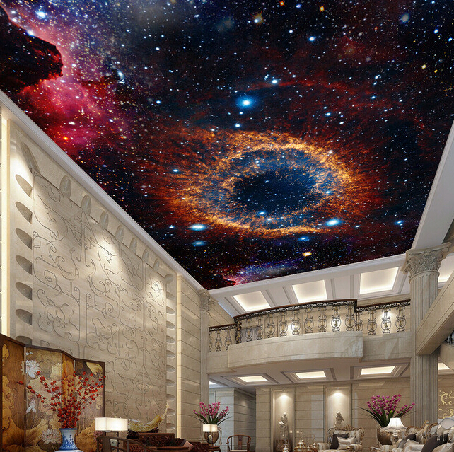 Custom Ceiling Wallpaper 3d Space Star Murals For The