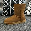 2016 de Alta Qualidade Austrália Marca UG Inverno das Mulheres Botas de Neve de Couro Rachado da Vaca Real Sapatos Tornozelo Mulher Botas Mujer